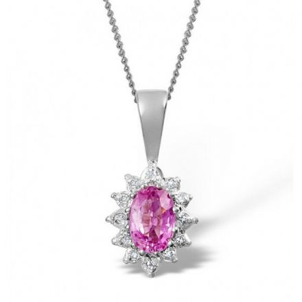 18K White Gold 0.04ct Diamond & 6mm x 4mm Pink Sapphire Pendant, DCP03-PSW